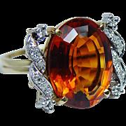 Vintage 8ct Madeira Citrine Diamond Ring 18K Gold Platinum Estate
