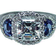 Asscher Diamond Half Moon Sapphire Engagement Ring  Setting 18K White Gold