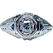 Vintage European Diamond French Trillion Sapphire Filigree Ring 18K White Gold Estate circa ..