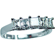 Vintage VS1-FG Asscher Carre Diamonds Anniversary Ring Band 14K White Gold Estate Appraisal