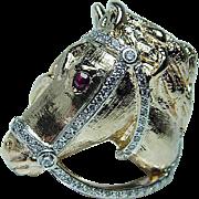 Vintage Diamond Man Horse Equestrian Ring 14K Gold Fine Detail Heavy Estate