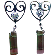 Vintage Watermelon Tourmaline European Diamond Heart Earrings 14K White Gold Estate Jewelry