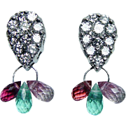 Vintage Diamond Emerald Tourmaline Dangle Earrings 14K White Gold Estate Jewelry