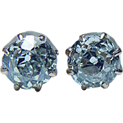 Antique .70ct Old Mine Miner Cushion Diamond Solitaire Stud Earrings 14K Gold Estate circa 191
