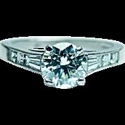 Vintage  Diamond .86ct center Asscher Baguette Engagement Ring Platinum