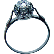 Vintage .45ct Old Mine Cut OMC Diamond Solitaire Ring 18K White Gold Estate Jewelry