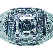 Certified Vintage VS2-F Asscher Diamonds 14K White Gold Engagement Ring Estate