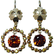Vintage Madeira Citrine 18K Gold French Lock Earrings ITALY Estate Long Dangling Leverback