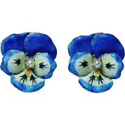 Art Nouveau Vintage Blue Enamel Pansy Flower Pierced Earrings 14K Gold Estate Jewelry