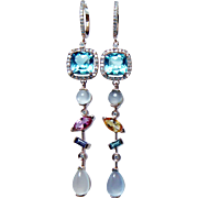 Estate Diamond Tourmaline Sapphire Moonstone Long Dangle Earrings 14K Rose Gold