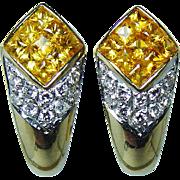 Vintage Fancy Yellow Princess Sapphire Diamond Earrings 18K Gold High End Estate