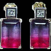 Vintage 16ct Watermelon Tourmaline Princess Diamond Earrings 14K Gold Estate Jewelry