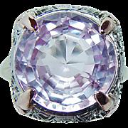 Vintage JJ White 8ct Kunzite Filigree Ring 14K White Gold Estate cir 1920
