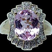 Vintage Laura Ramsey 6ct Kunzite Diamond Estate Ring 14K Gold Estate Jewelry
