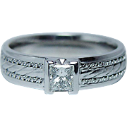 Vintage .58ct VS-G Princess Diamond Man Wedding Ring Band Heavy Estate Size 11.25