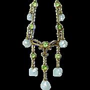 Art Nouveau Russian Demantoid Garnet Genuine Baroque Pearl Necklace Lavalier 14K Gold Estate .