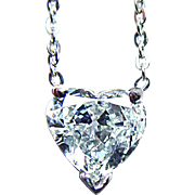 Vintage .57ct SI-GH Diamond Heart Solitaire Necklace Platinum Estate Jewelry