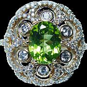 Vintage EFFY Peridot Diamond Ring 14K Gold Heavy Designer Signed Estate Jewelry