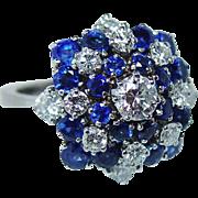 Vintage Gubelin Swiss Made Sapphire VS1-E Diamonds Ring 18K White Gold Estate