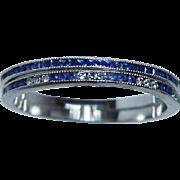 SALE Vintage Pair Platinum French Sapphire Diamond Eternity Ring Set Signed Speyer Sz 5.75 ...