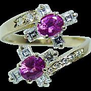 Vintage H Stern Pink Sapphire Asscher Diamonds Ring 18K Gold Designer Signed