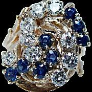 SALE Vintage Sapphire 1.88ct   Diamonds Ring 18K Gold Heavy Estate