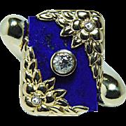 SALE Art Nouveau Tiffany & Co Lapis European Diamond Ring 18K Gold Heavy Estate Jewelry