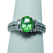 SOLD Vintage Tsavorite Baguette Diamond Ring 14K White Gold Estate Jewelry