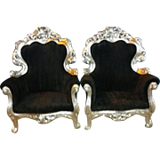 Baroque style chairs in black fabric and silver frame - ONLY ONE LEFT