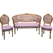 Complete living room set, sofa and two chairs in Louis XVI style