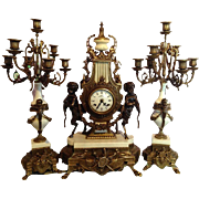 Table clock set with putti, neoclassical style