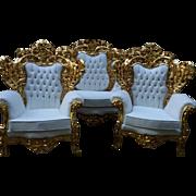 Italian Baroque Sofa and 1 chair left