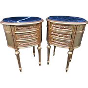 Pair of unique small night stands in French style with gold leaf