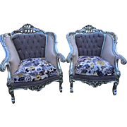 A pair of two Baroque chairs, Italian style, high quality