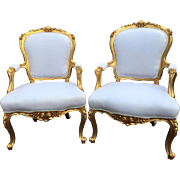 set of two chairs in French Louis XV style