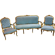 Louis XV sofa and two chairs in baby blue