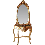 Louis xvi console with mirror and marble