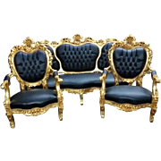 19th century sofa and 2 chairs in Rococo style