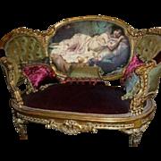 Handmade, handpainted, Louis xvi style sofa seat for 2 person