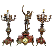 Antique French Rococo style clock set with two candelabras-FREE SHIPPING-