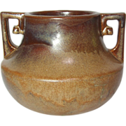 SALE Fulper Pottery, Squat Buttressed Handled Copper Dust Vase, HTF, Rare