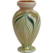 SALE Kew Blas Art Glass Cabinet Vase, Green Pulled Feather Decoration, Very Nice