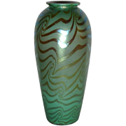 Durand Art Glass, Green King Tut Lamp Base Blank, Tall Vase, Stunning