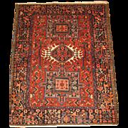 Persian handmade Karadja Oriental Rug , Northwest Persia circa 1930 , 4.5 x 3.5