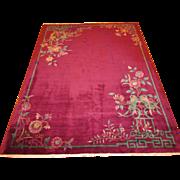 Art Deco Nichols Chinese Oriental Rug,Carpet circa 1920 , 11.2 x 8.5