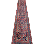 Antique Malayer Oriental Rug Runner , West Persia , Early 20th Century , 16.9 x 3.2