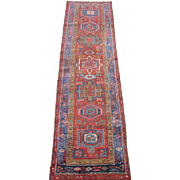 Persian Heriz Narrow Runner , Oriental Rug , Heriz District , Northwest Persia circa 1920 , 9