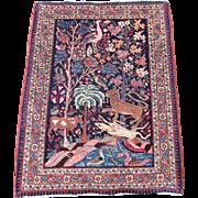Antique Tabriz Pictorial Mat,Oriental Rug , Azerbaijan Province , Northwest Persia , 1st ...