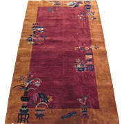 Tientsin Chinese Art Deco oriental Rug , Northeast China circa 1930 , 6.9 x 4.1