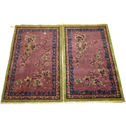 Pair Of Chinese Tianjin Art Deco Scatter Oriental Rugs , Northeast China 1920's / 1930's ...